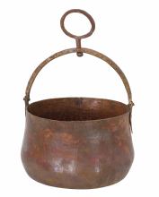 Moroccan Copper Hammam Bucket Vintage Large Antique Hammered Height 17 cm Diameter 24 cm CHB4
